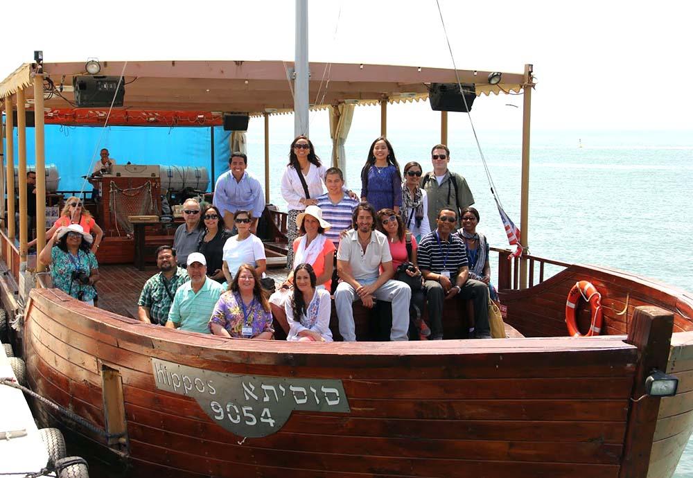 Smiling on a Dead Sea boat ride